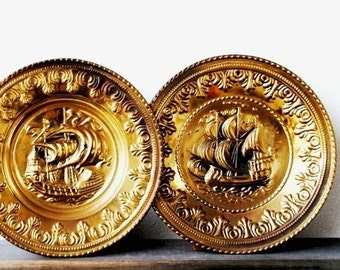 Vintage Brass Clipper Ship Plate Chargers, Nautical Decor Copper Repousse Peerage Wall Art, Made in England