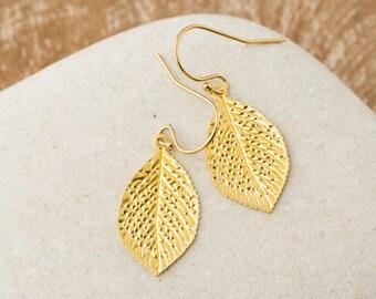 Leaf Earrings/Gold Leaf Earrings/Gold Leaf Dangle Earrings/Forest jewellery/Botanical Jewellery/Tree of Life