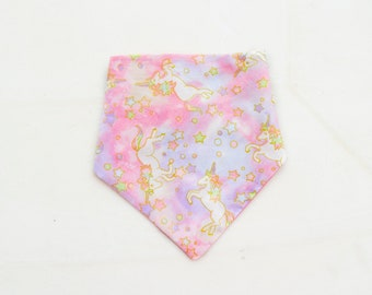 Unicorns, Reversible bandana for dogs and cats. Tie on dog bandana. Dog bandana