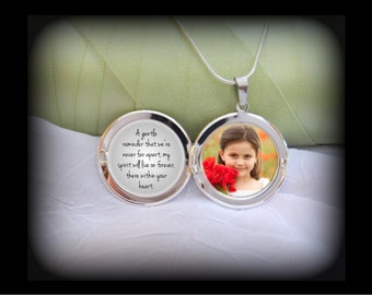 Sympathy Locket Pendant - Glass covers Photo and Message