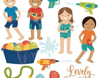 pool party clip art summer clipart pool vector royalty rh etsy com Cartoon Water Clip Art Water Fun Clip Art