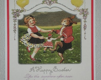 A Happy Easter Girl & Rabbit Dancing
