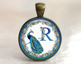 Custom Peacock Monogram, Initial, Letter Pendant, Necklace or Key Chain - Choice of Color