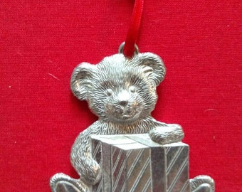 Kirk Stieff Pewter Christmas Ornament / Teddy Bear with Present/ Baby's first Christmas Ornament/ Preppy Pewter Ornament