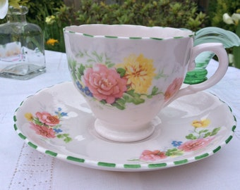 Pink English bone china tea cup and saucer, Tuscan 1947s vintage bone china tea set, vintage tea cup, and saucer, Anniversary tea trio