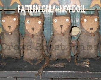 CAT epattern-NOT DoLL, Old Primitive Cat Doll Crows Roost Prims 223e epattern  SALE immediate download