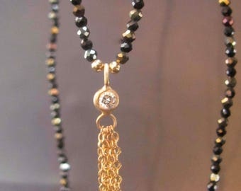 Long spinel necklace and 14 karat gold pendant set with diamond. free shipping