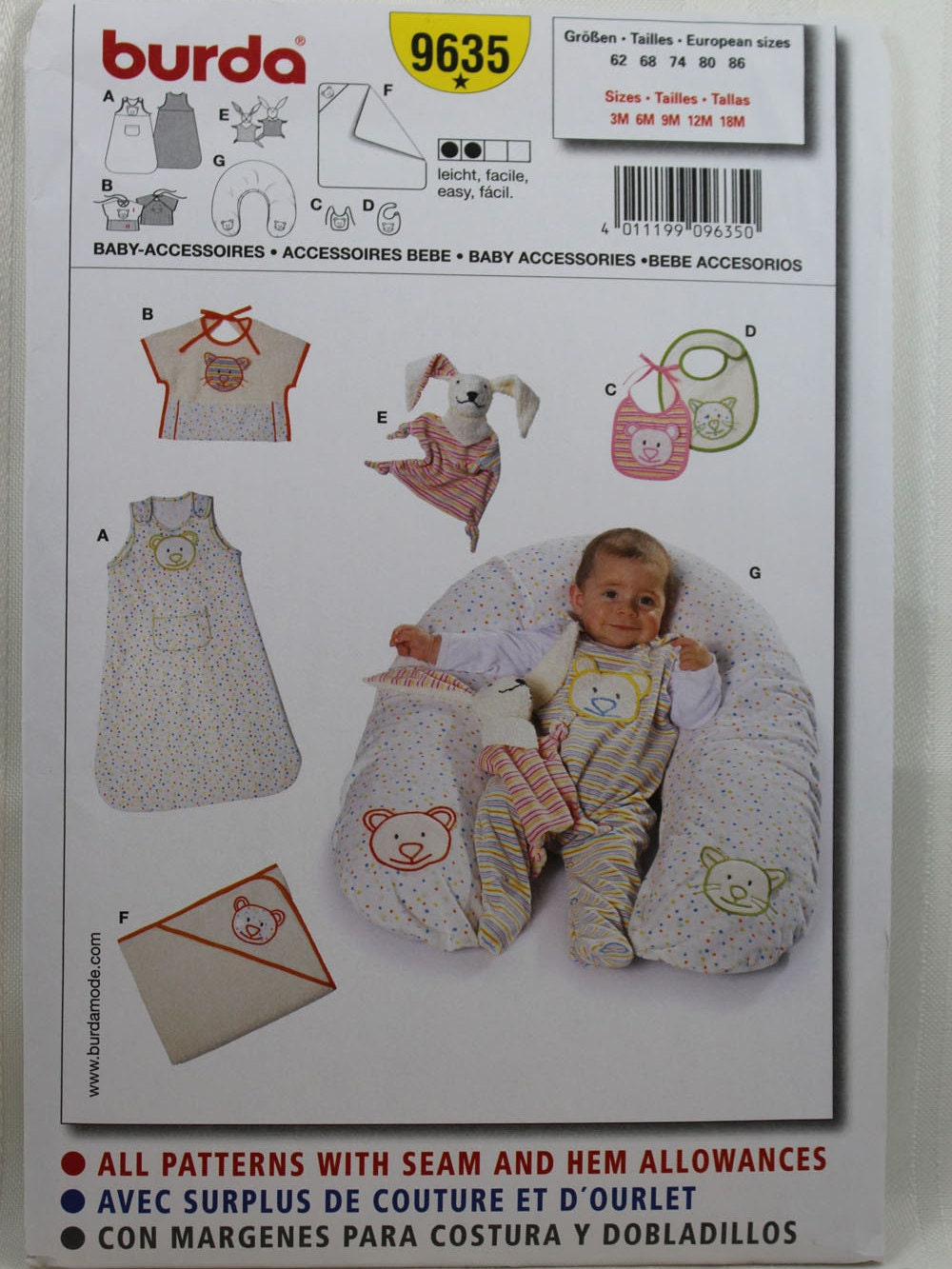 Burda 9635 Baby Accessoires Nähen Muster, Sack Bad Handtuch ...