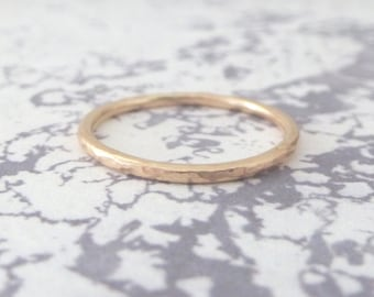 Rose Gold Ring - Hammered or Smooth - 9ct Rose Gold - Rose Gold Band - Hammered Rose Gold Ring