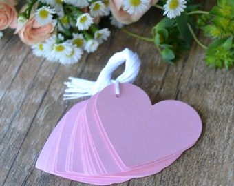 baby pink heart tags with string, pink heart gift tags, pink heart price tags, pink heart favor tags, light pink wedding favor tags- 15 tags