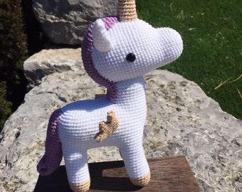 Stuffed crocheted unicorn, Amigurumi unicorn, Plush unicorn, Crochet unicorn, Stuffed unicorn