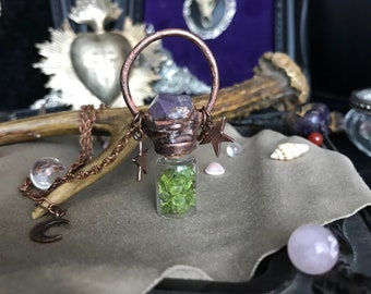 Copper vial bottle pendant - peridot & Amethyst - pirate - spell-magic - electroforming-wiccan - witch - elixir - moon