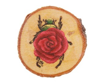 Print of Mini Rose Scarab Beetle On Wood | Insect Flower Painting on Wood