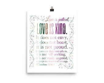 1 Corinthians 13 4 5, Love is Patient, Love is Kind, Poster