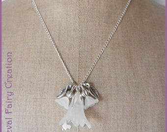 "Elven necklace ""Lotse"" silver and white"