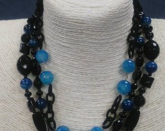 "MarcyTreasure 18"" Black Onyx and  Blue Crystal Necklace"