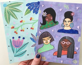 Ladies & Plants Vinyl Stickers / Two Sheets