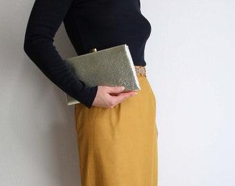 VINTAGE Gold Clutch Metallic Evening Bag Small