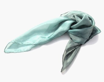 Smoke & Aqua hand dyed silk scarf ombre light grey blue headband