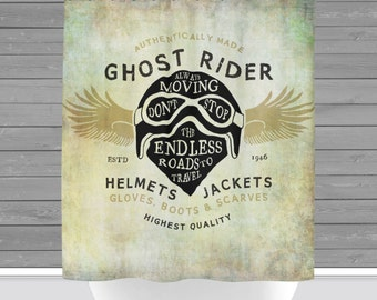 Shower Curtain And More   Motorcycle Man Cave Bike Helmet | See Dropdown  For Pricing And