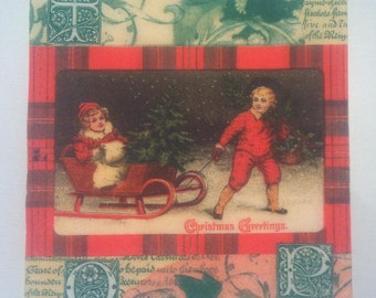 PN-131. New Year, * Price is for one napkin *, Paper Napkin, Decoupage,  Christmas,  Santa Claus