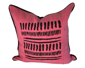Pink and Black Pillows, Mud Cloth Pillow, Spring Décor, Mudcloth Pillow Cover, Pink Throw Pillow, Abstract Pillow