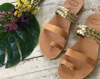 Gold Leather Sandals, Women Greek Sandals, Greek Leather Sandals,Ancient Greek Sandals, Women's Gold Sandals,Flat Sandals