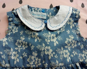 Chambray dress with flowers 7 years old