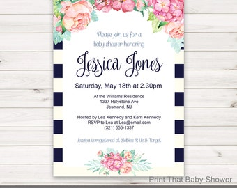 Baby Shower Invitation - Floral Baby Shower - Printable Invitation - Flower Baby Shower Invites - Floral Invitation - Floral