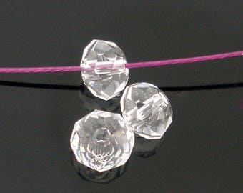 Set of 10 clear 4mm faceted glass Crystal beads