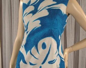 Vintage 60s Hawaiian Bark Cloth Dress Size XS chest 36