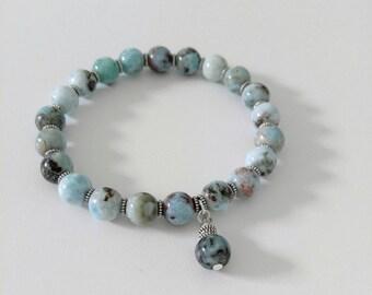 Larimar Beaded Bracelet, Genuine Dominican Republic Larimar Beads, Larimar Jewelry, Handmade Larimar Bracelet, Larimar Bracelets, Stretch