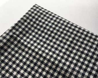 Black and White Gingham Cotton Fabric Charming Country Rustic True Gingham