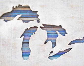 Reclaimed Wood Art - Great Lakes