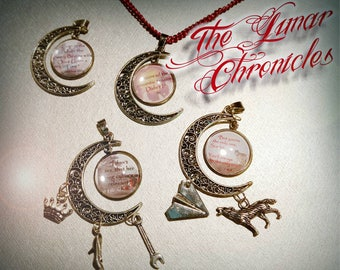The Lunar Chronicles Quote Moon Pendant with/without charms
