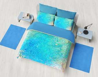 Coastal Duvet Cover or comforter  - Coral Reef - coastal design, aqua, ocean, island, shore bedroom linens, blue bedroom, decor