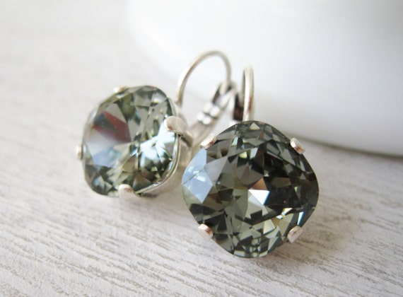 Grey Bridesmaid earrings black diamond crystal wedding jewelry antique silver settings with leverbacks.