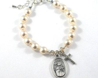 St Teresa of Avila Catholic Saint bracelet + cross, Pearl Saint Teresa Bracelet Prayer devotional gift Saint against headaches + Illness.