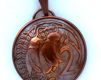 Copper Flower Jewelry, New Zealand Coin Pendant 2 Cent Vintage Necklace Jewelry Unique Charm Finding Bead Foreign World Kiwi Travel
