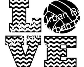 Chevron Volleyball Love .svg, dxf cutting file vinyl or paper