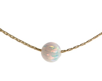 14k gold necklace,opal bead necklace,solid gold necklace,opal necklace,gift for her, opal,14k gold