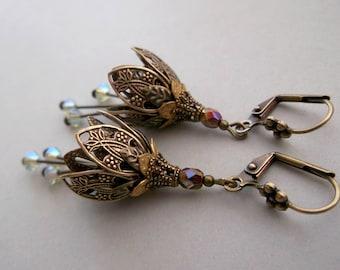 Brass Flower dangle Flower earrings gift Floral Dangle Botanical dangle Victorian Earrings Vintage earrings boho dangle romantic gift