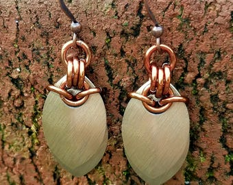 Champagne and Bronze Scale Maille Earrings