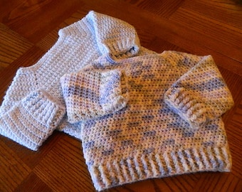 Crochet Baby Sweater/6 to 9 months size/ Ready to Ship