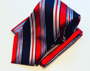 Red and multi Blue stripe neck tie with pocket square