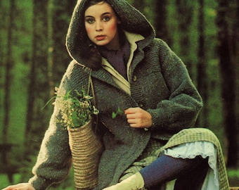 Vintage Knitting Pattern  1970s Chunky Hooded Jacket Coat INSTANT DOWNLOAD PDF