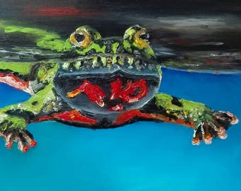 Frog in oil on canvas square finger painting