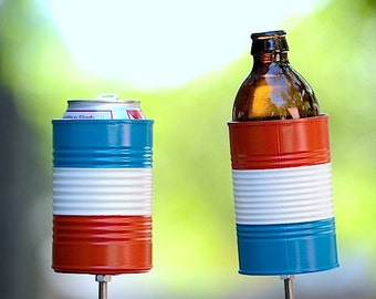 2 Hobo Tin Can Beer Holders/ Red White and Blue Garden Drink Holders/ Patriotic Stake Drink Holders - Fourth of July Accessory