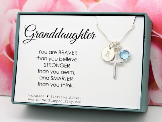 Easter gift for granddaughter jewelry sterling silver initial negle Images