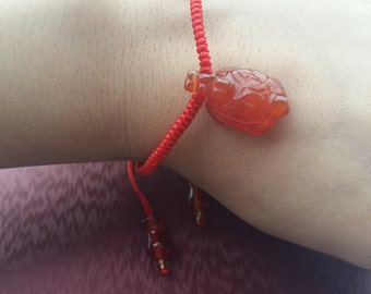 "Fashion red agate ""Little Turtle"" weaving bracelet natural red agate 'turtle' and 'vase' hand-woven bracelets"